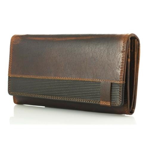 Prémium sötétbarna női viaszbőr pénztárca