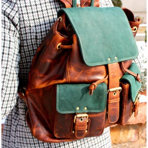 Zöld viaszbőr hátizsák